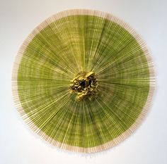 "Ann Hamilton  ciliary 2010  Lithograph, fabric, bamboo and hardwood dowel construction  Approx. diameter: 58"" (147.3 cm)"