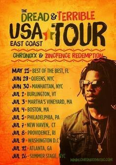 Chronixx, The Dread and Terrible USA Tour poster.