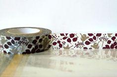 Japanese Washi Tape Woodland Brown Bird Tree, Leaves, Fall Pattern Masking Tape 15mm Fall Wedding