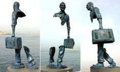 Amazing sculpture on the Marseilles waterfront. Its creator, Bruno Catalano, says it represents the feeling of loss many people feel when moving to a new land.