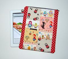 KAWAII PATCHWORK - iPad 1, 2, 3, 4 / Tablet PC Padded Sleeve Cover (Only One Made and Ready To Ship) by RKEMdesigns, $28.50
