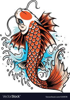 Illustration of Koi fish japan illustration vector art, clipart and stock vectors. Japanese Koi Fish Tattoo, Koi Fish Drawing, Fish Drawings, Japan Illustration, Pez Koi Tattoo, Coy Fish Tattoos, Coy Tattoo, Tattoo Fish, Koi Fish Tattoo Meaning