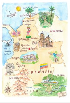 Map of Colombia - Michael Hill Colombia Map, Colombia Travel, Travel Maps, Travel Posters, Places To Travel, Ecuador, Peru, Argentine, South America Travel