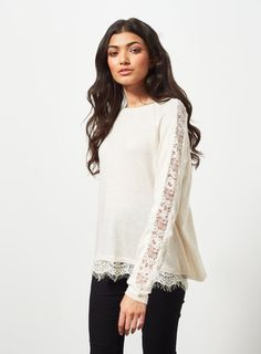 Buy Miss Selfridge Lace Detail Two In One Jumper, Cream from our Women's Knitwear range at John Lewis & Partners. Shirt Transformation, Valentines Outfits, Curvy Fashion, Women's Fashion, Cut And Style, Lace Tops, Lace Detail, Miss Selfridge, Plus Size Outfits