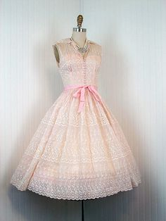 1950s pink & ivory party dress