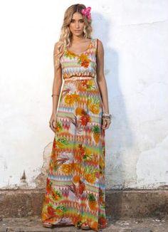 Vestido Longo Estampa Étnica e Tropical - Posthaus