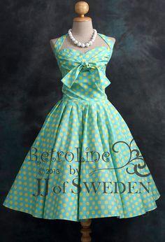 Polka dot patterned rockabilly dress. Designed handmade 50's Retro inspired halterneck XL / 2XL