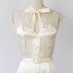 Lace & Satin Cream Vintage Wedding Dress
