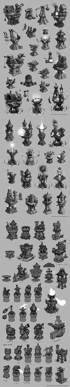 Tower designs (Concept art)_by Mark Henriksen_from Behance (@MarkHenriksenArt)