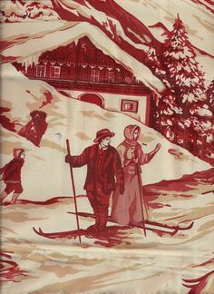 Pierre Frey Alpine Toile by helen Pierre Frey, Chinoiserie, Alpine Style, Vintage Ski, Vintage Linen, Vintage Fabrics, French Fabric, Textiles, Fabric Wallpaper