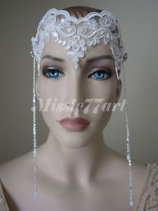 Art Nouveau Flapper 1920's Inspired White Lace Wedding Bridal Headband  $89.95  Restocked and can be found on eBay at: http://www.ebay.com.au/itm/Gatsby-Art-Nouveau-Flapper-1920s-Inspired-White-Lace-Wedding-Bridal-Headband-/151123567646?pt=AU_Wedding_Clothing&hash=item232faaa41e#ht_1970wt_1091