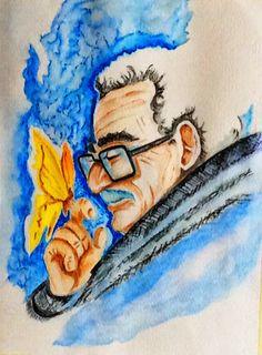 """Una idea, mucho arte """"Recordar es fácil para el que tiene memoria. Olvidar es difícil para el que tiene corazón"""". Gabriel García Márquez Lápices acuarelables s/papel, 34x26cm. Autora: Carmen Varela"""