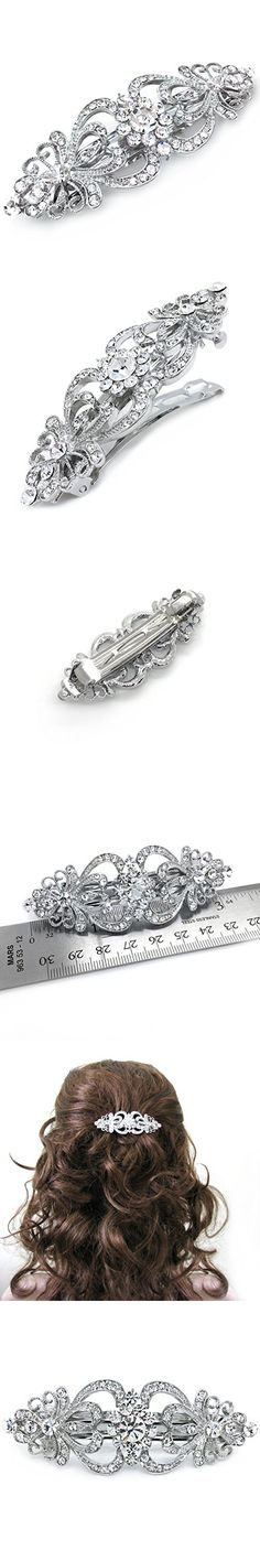Hair Barrette Hearts and Flowers Rhinestone Crystal Wedding Hair Accessory