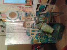 Sgabello La Bohème di Kartell- sedia anni '50 - separè - valigia in legno il tutto rivisitato con colori che vanno dal verde al giallo, dal turchese al rame by elisabetta:chiappino:design:restyle