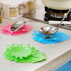 Pinovk Creative Spoon Utensil Holder Spilled Ketchup Shape Cup Mat Kitchen GadgetsColor Random
