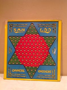 Vintage San Loo Chinese Checkers Board W/Metal Rim And Marble Holder #NorthwesternProductsCo
