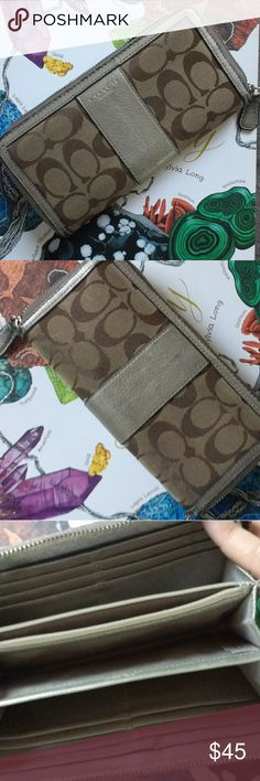 COACH Gold and Canvas Zipper Wallet Used coach leather and signature canvas wallet.  The zipper and spine show some wear but the inside looks great! Coach Bags Wallets