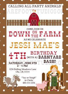 Farm Barnyard Birthday 5x7 Digital Birthday by BarefootStudiosOk