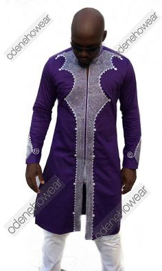 Odeneho Wear Men's Black Polished Cotton Top With Silver Embroidery Design. African Clothing