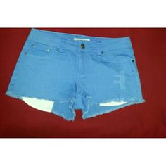 LIKE NEW! F21 Denim Periwinkle Frayed Shorts JUST LIKE NEW Forever21- Who needs just plain blue denim? Grab these beautiful periwinkle frayed and destroyed denim shorts. Pair them with a purple or blue top...of course white always works too. Riveted front pockets and back patch pockets.  Comes from a pet and smoke free home. If you have any questions please ask. Forever 21 Shorts Jean Shorts