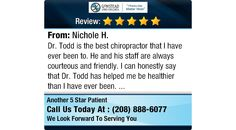 Dr. Todd is the best chiropractor that I have ever been to. He and his staff are always...