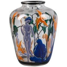 Marcel Goupy Enameled Glass Vase, circa 1925   From a unique collection of antique and modern vases and vessels at https://www.1stdibs.com/furniture/decorative-objects/vases-vessels/