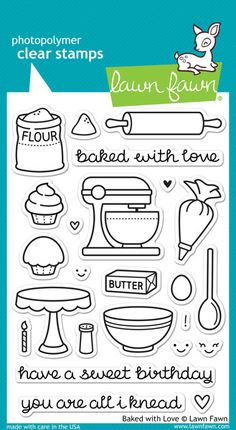 Lawn Fawn - Baked with Love Stamp Set.