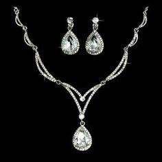 Bridal Wedding Jewelry Set Crystal Rhinestone Unique Chain Teardrop Necklace SV