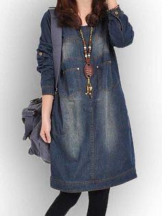 秋 長袖 ワンピ ラウンドネック デニム ワンピ カジュアルワンピース - レディースファッション激安通販|20代·30代·40代ファッション