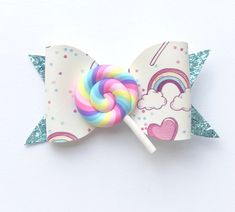 Lollipop Glitter Bow Clip