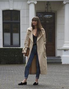 H&M Trend trench coat, Matin Studio silk top, Cos denim, Ralph Lauren loafers, Louis Vuitton bag  |  MODEDAMOUR