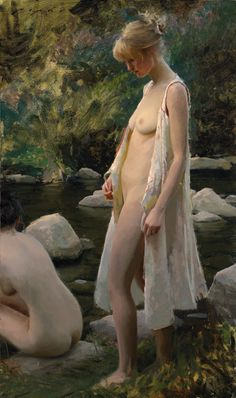 Traditional Romantic oil painting of bathing women. Title: 'Last Light' by…