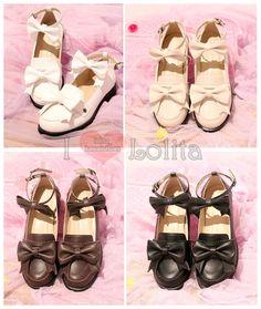 Free Shipping 4 Colors Lolita Kawaii Bow Uniform Shoes LK17040736 White Beige, Black And White, Kawaii Shoes, Lolita Shoes, Shoe Size Conversion, Shoe Size Chart, Miu Miu Ballet Flats, Lolita Fashion, Color Patterns