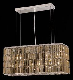 "Elegant Lighting 2018D32C-GT/RC Maxim Collection Dining Room Hanging Fixture L32"" x W9"" x H13"" Chrome Finish (Royal Cut Golden Teak Crystals)"