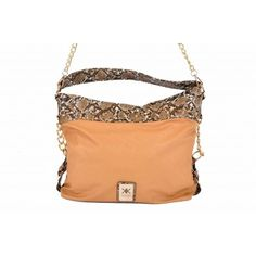 Kardashian Kollection Python Shoulder Bag - Camel - Women's