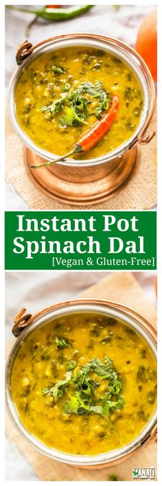 Vegan and gluten free Instant Pot Spinach Dal! This dal comes together rather quickly in the instant pot and is best enjoyed with boiled rice.