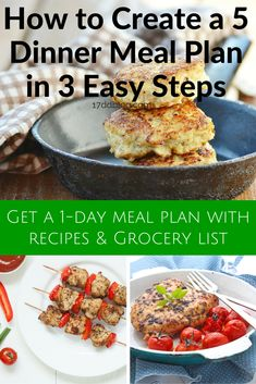 I've been consistently creating dinner meal plans each week and it's reduced my stress, we're no longer ordering in the mid-week pizza delivery and we're eating healthy foods and feeling great! In this new blog post, learn my 3 easy steps to create a 5 day dinner menu for next week. Pin and grab your 1-day meal plan with recipes and grocery list! http://17ddblog.com/how-to-create-a-5-dinner-meal-plan-in-3-easy-steps/
