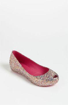 Flower girl shoe Mini Melissa 'Ultragirl Glitter' Flat (Toddler & Little Kid)   Nordstrom #flowergirl
