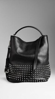 Medium Studded Leather Hobo Bag BURBERRY