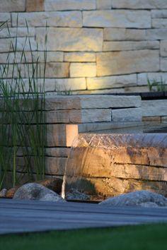 nasvícení přepadu vody / lighting of falling water Stone Retaining Wall, Retaining Walls, Natural Stones, Waterfall, Gardens, Lights, Wood, Nature, Houses