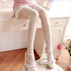 [leggycozy] Retro Sweet Floral Pattern Pantyhose Thin Stockings Cute Pants, Cute Leggings, Best Leggings, Tight Leggings, Colorful Leggings, Leggings Are Not Pants, Harajuku Fashion, Japan Fashion, Kawaii Fashion