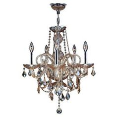 Provence Collection 5 Light 22 in. Chrome and Amber Crystal Chandelier-W83102C20-AM at The Home Depot