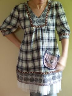 ♥ love the silk tulle underlayer and the contrasting prints~this be made from upcycled XL men's shirt using Burda pattern?