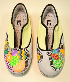 Hand Painted canvas shoe women's size 7 by eemee on Etsy, $75.00