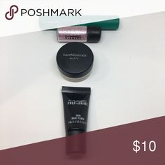 Makeup Bundle •MAC Zoom Lash in Green is Green (swatched).  •MAC Pigment in Kitschmas (swatched). •Bare Minerals Matte Foundation in Fairly Light (new).  •MAC Prep+Prime Skin Base Visage (new) Makeup