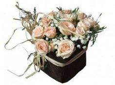 pink roses in a black basket