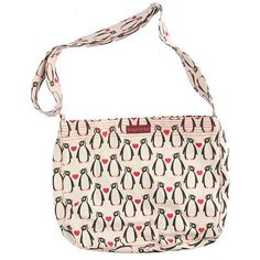 """Our very cool penguin messenger bag by Bungalow 360 is perfect for stylish penguin lovers on the go. It measures 14"""" long x 12"""" wide x 4"""" deep, and features 3 nice sized interior zippered pockets. The"""
