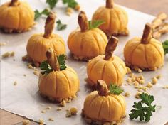 Guests will enjoy clever edible pumpkins, whether served as an appetizer or used as a garnish.  What a treat!