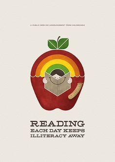 Reading each day keeps illiteracy away. Public service announcement by Colorcubic.