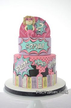 Love this superhero cake for a little girl